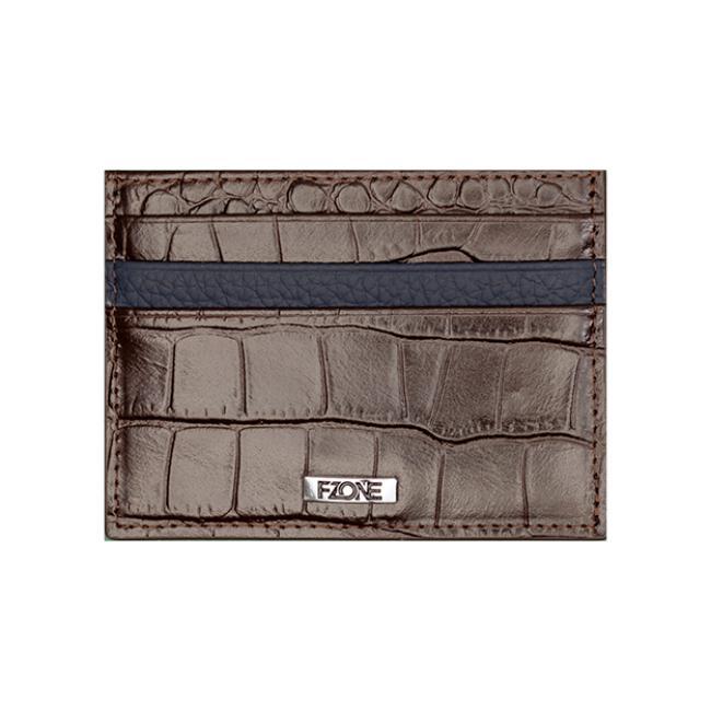 محفظة -اف وزن الفاخرة من الجلد الطبيعي للبطاقات مع جيب ف الوسط للنقود - بني وكحلي