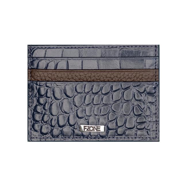 محفظة -اف وزن الفاخرة من الجلد الطبيعي للبطاقات مع جيب ف الوسط للنقود - أزرق وبني