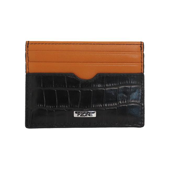 محفظة- اف وزن الفاخرة من الجلد الطبيعي للبطاقات مع جيب ف الوسط للنقود - أسود وبرتقالي