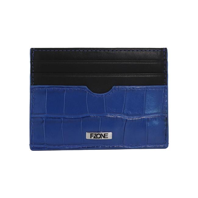 محفظة- اف وزن الفاخرة من الجلد الطبيعي للبطاقات مع جيب ف الوسط للنقود - أزرق واسود