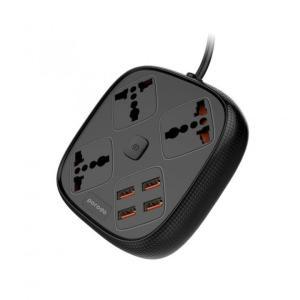 بوردو قطاع مقبس الطاقة 4 مقابس USB 3 ، 3 منافذ يو أس بي 3A 1 QC 3.0 مع 3 مآخذ طاقة عالمية 10A (160X135X65mm) مواد مقاومة للكهرباء الساكنة ومقاومة للحريق ومفتاح طاقة مستقل مقبس عالمي - أسود